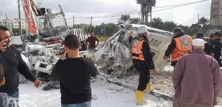 اصابتين خطيرتين بحادث سير جنوب قطاع غزة