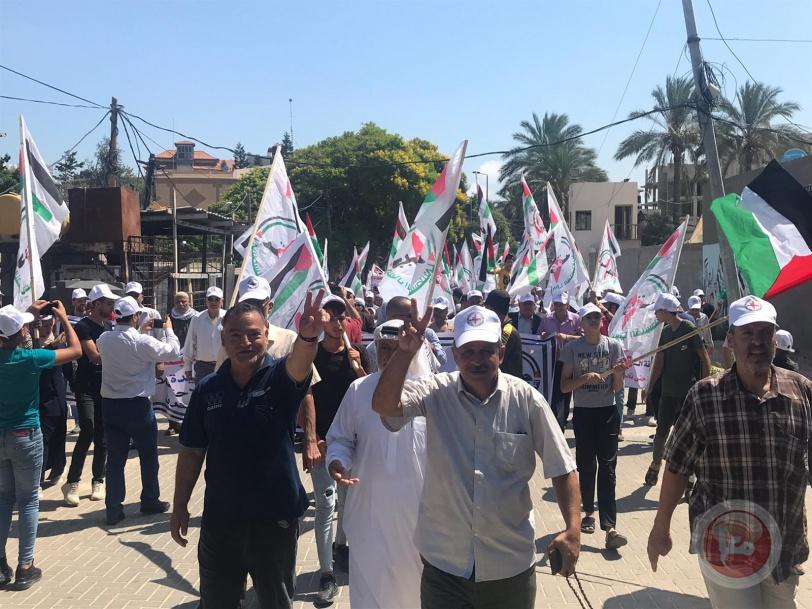 جبهة النضال تحتفل بانطلاقتها بمسيرة حاشدة بغزة