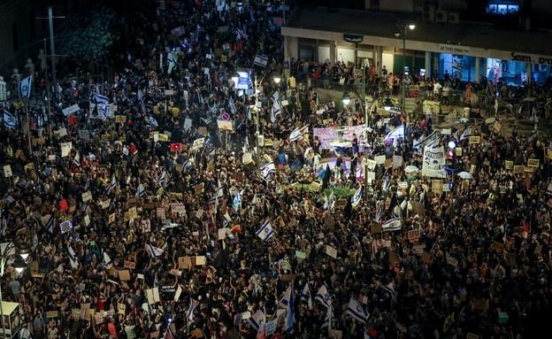 للاسبوع الرابع - نحو عشرة الاف متظاهر  ضد نتانياهو في القدس وتل ابيب وقيسارية
