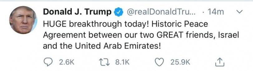دون علم الفلسطينيين- الامارات وإسرائيل تعلنان السلام والتطبيع وتبادل السفارات