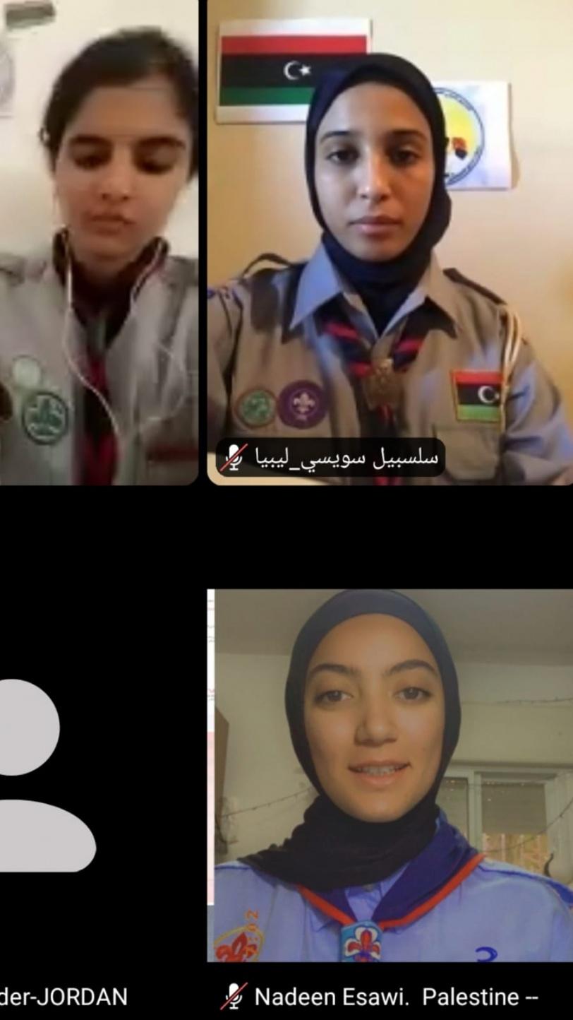منجدات فلسطين يشاركن في المخيم العربي الأول للدليلات عبر الإنترنت