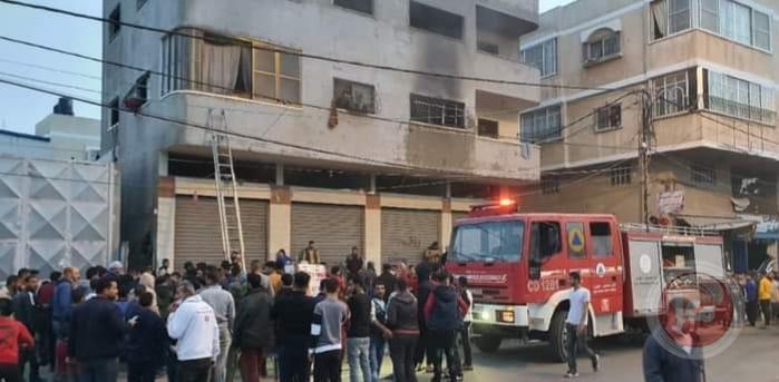 إصابة مواطنين خلال حريق بخان يونس