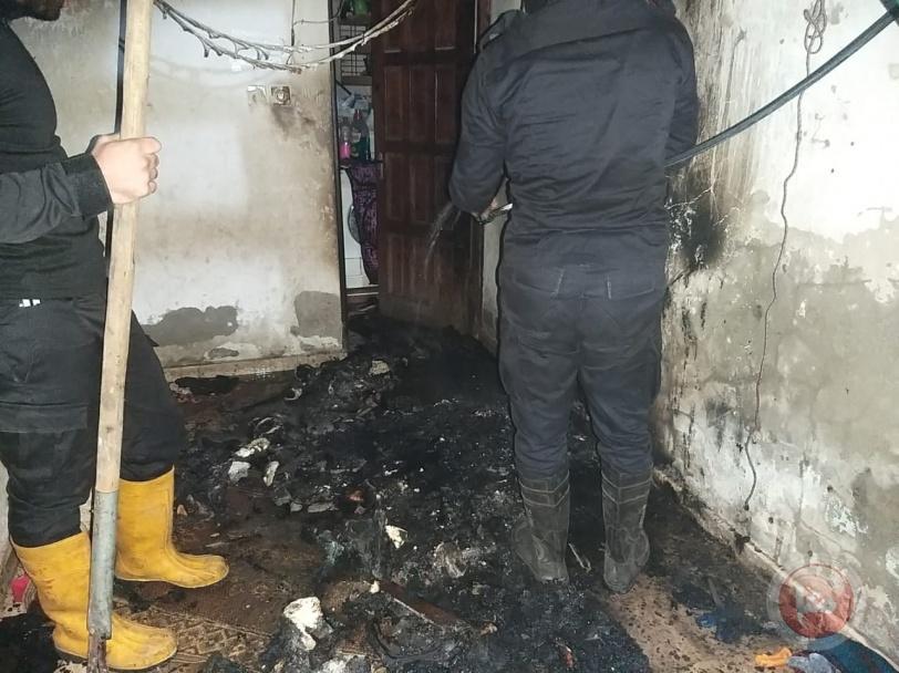 الدفاع المدني برفح يخمد حريقا بمنزل سكني