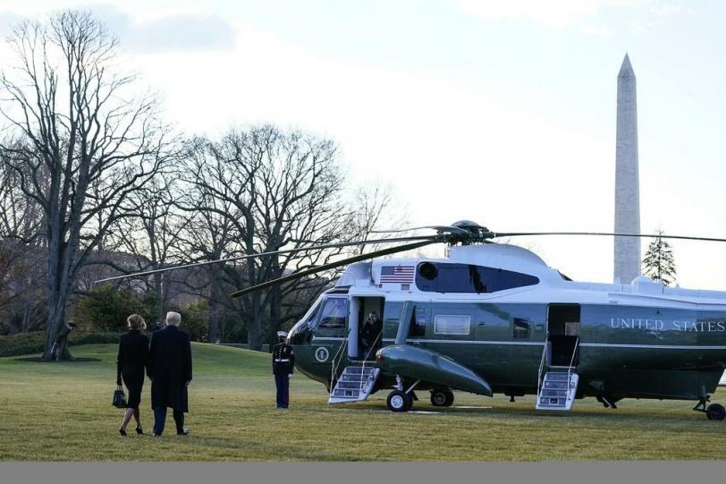 ترامب يغادر البيت الأبيض (صور)