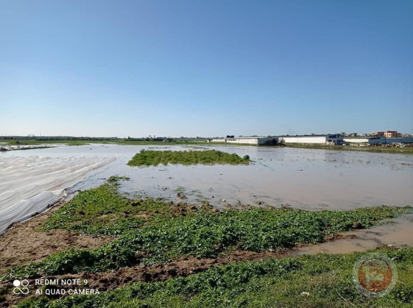 الاحتلال يغرق مئات الدونمات الزراعية بغزة