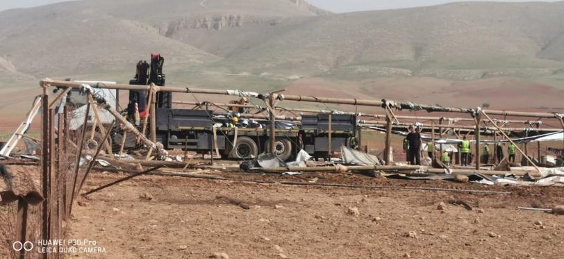 للمرة الثانية- الاحتلال يهدم خربة حمصة ويعلنها منطقة عسكرية مغلقة