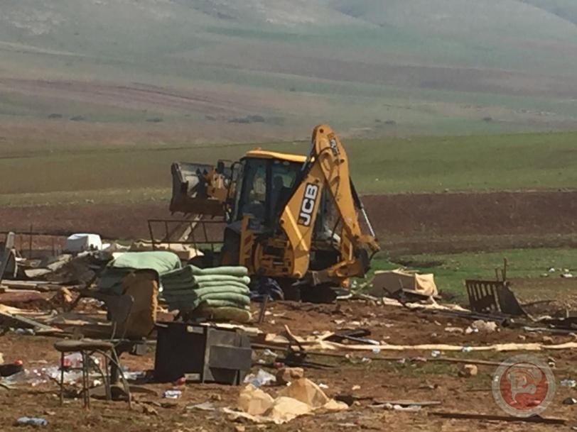 الاحتلال يدمر خربة حمصة في الاغوار للمرة الرابعة خلال أسبوع