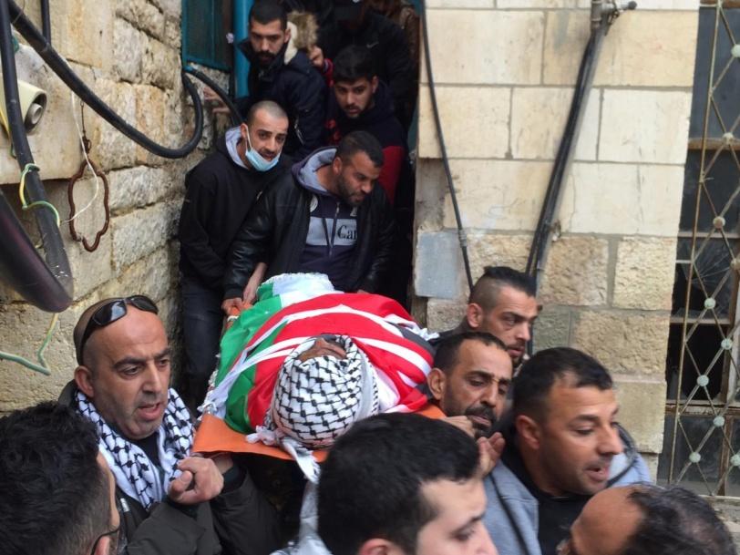 تشييع جثمان الشهيد داود الخطيب في بيت لحم