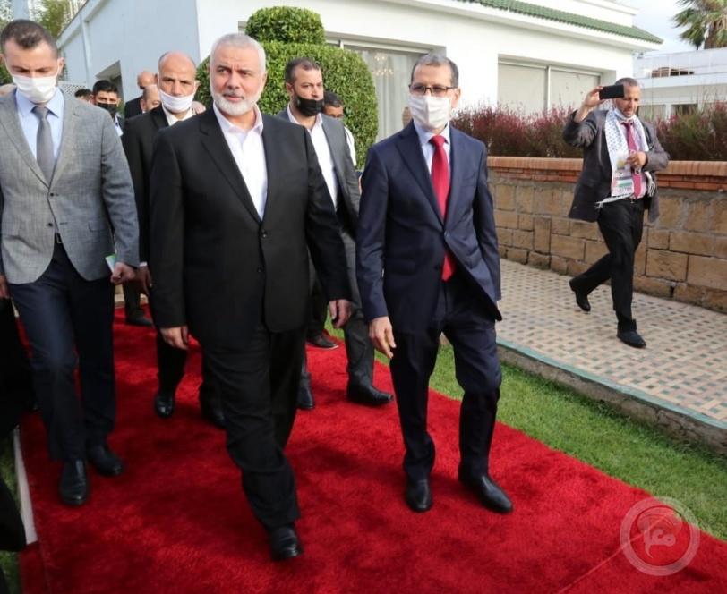 هنية يلتقي رئيس الوزراء المغربي سعد الدين العثماني