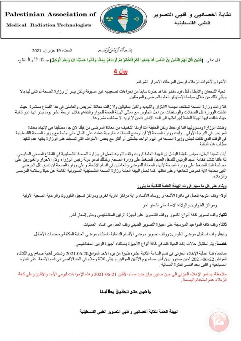 نقابة التصوير الطبي تُعلق العمل يوم غد وبعد غد الإثنين في مرافق وزارة الصحة