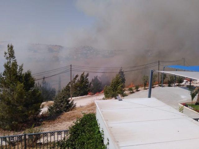 """إخلاء بيوت.. حريق ضخم في أحراش """"الزير"""" قرب مستوطنة تقوع (صور)"""