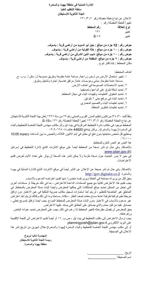 اخطارات بمصادرة عشرات الدونمات بياسوف في سلفيت