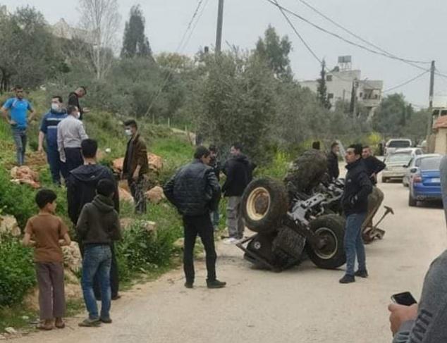 مصرع مواطن بإنقلاب جرار زراعي في نابلس