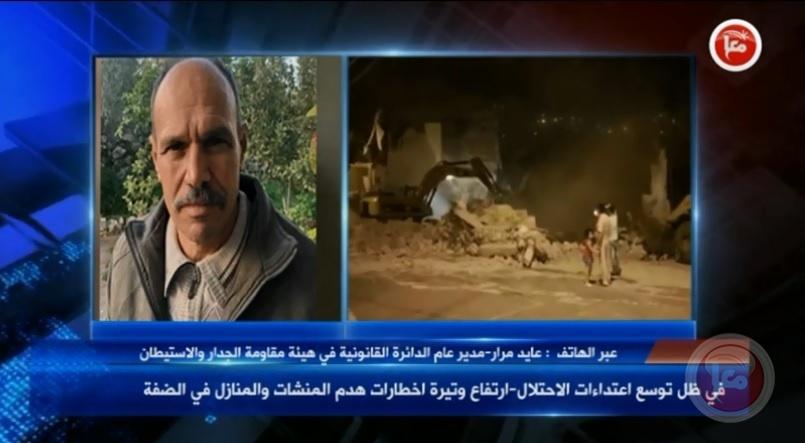 في ظل توسع اعتداءات الاحتلال-ارتفاع وتيرة اخطارات هدم المنشات والمنازل في الضفة