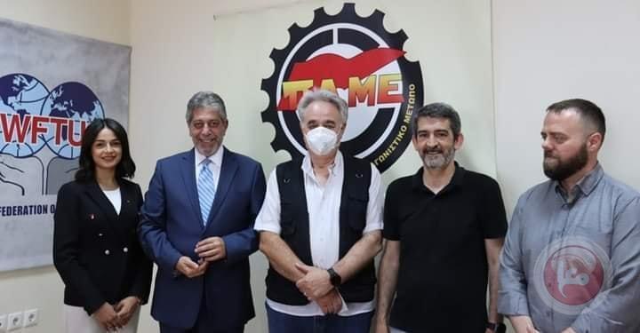 السفير طوباسي يلتقي بقيادة الجبهة العمالية اليونانية