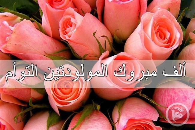 تهنئة بالمولود التوأم فرح و مرح الى محمد فوزي محمود