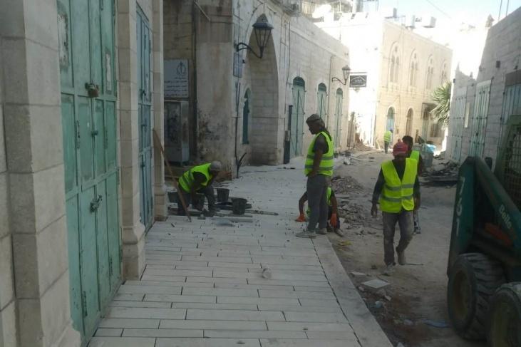 بيت لحم- إنجاز 80% من أعمال البنية التحتية لشارع النجمة